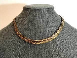 """Vintage Gold Tone Braided Choker Necklace 15""""'"""