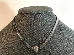 Vintage CHRISTIAN DIOR Silver tone Rhinestones Choker