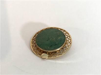 Vintage Gold Filled 12kt green stone Brooch