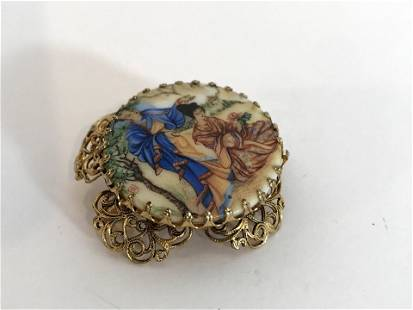 Vintage Hand painted Gold Tone Brooch