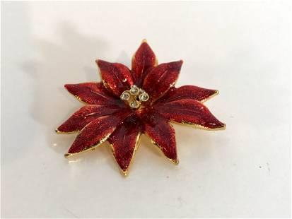 Vintage red enamel flower Brooch