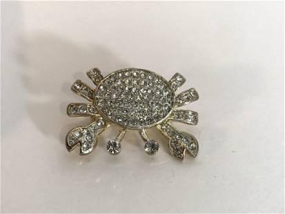 Vintage Rhinestone Crab Brooch