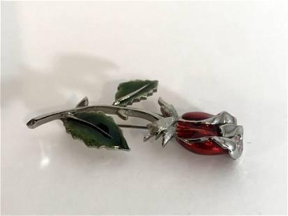 Vintage LC Enamel Silver tone Rose Brooch