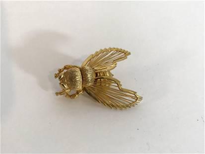 Vintage Gold tone Monet Big Bee Brooch
