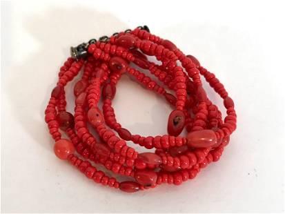 Vintage Coral Beaded strand Bracelet
