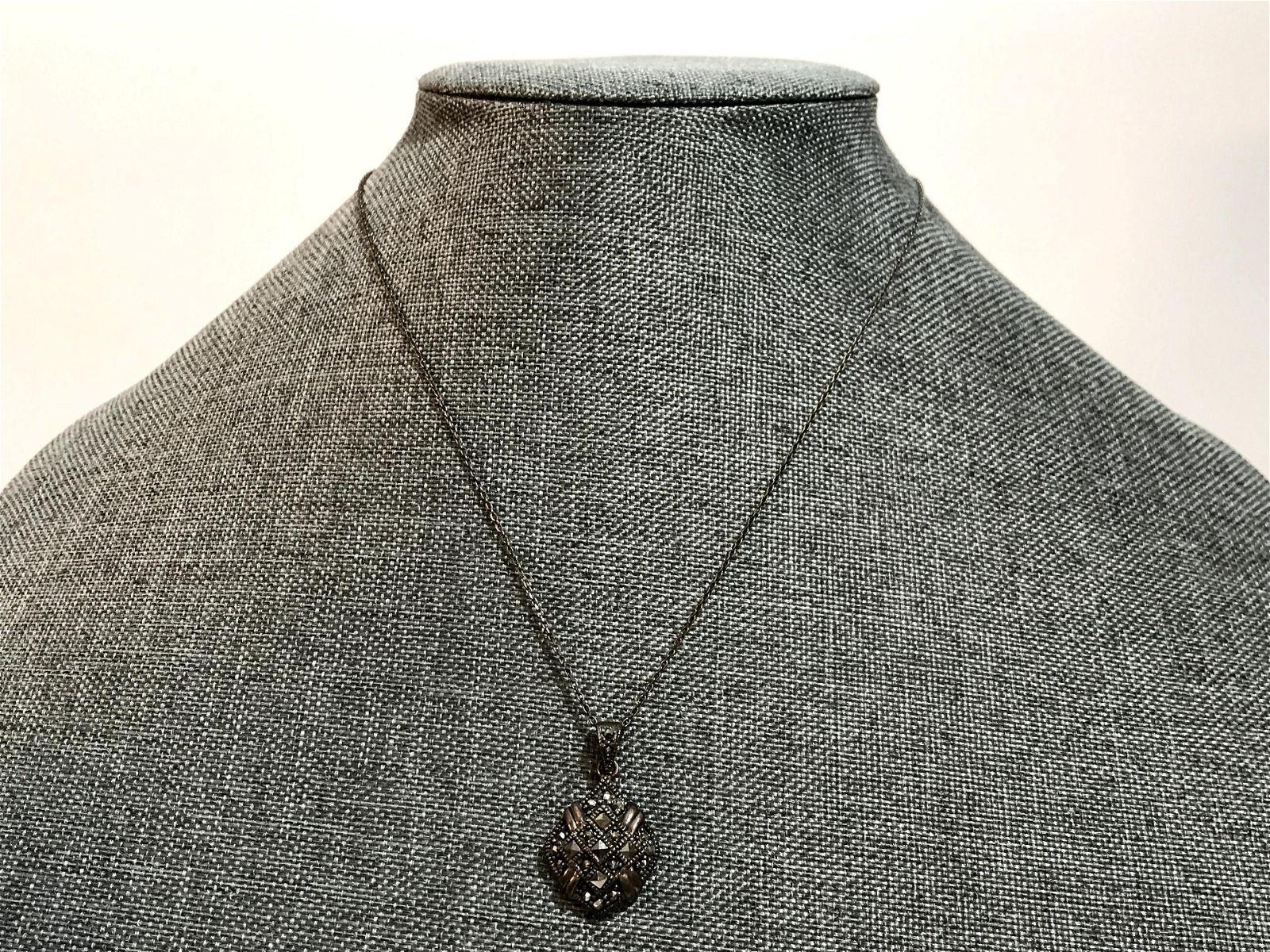 Vintage Sterling Silver Marcasite Pendant Necklace
