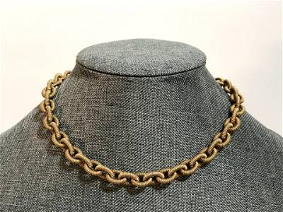 Vintage 14k Gold chain link heart clasp Chain 17â€