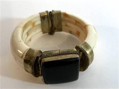 Layered Water Buffalo Bone Hinged Bangle Bracelet,