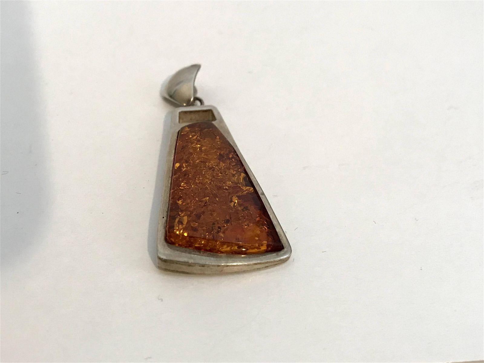 Vintage Genuine Baltic Amber Sterling Silver Large