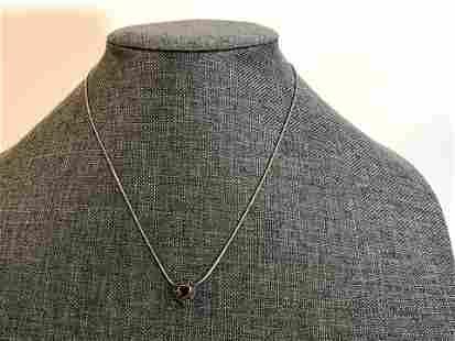 Vintage Sterling Silver Amethyst Marcasite Heart