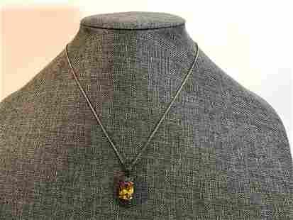 "Vintage Yellow Stone Marcasite Necklace 17"""