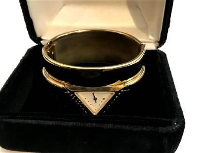 Vintage Franklin Mint Ladies Pyramid Cuff Watch & Box