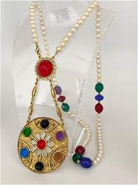 MASSIVE 80'S FRENCH RUNWAY POURED RESIN MOGUL NECKLACE