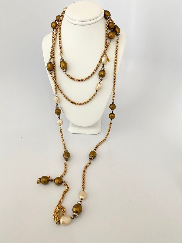 CHANEL GRIPOIX PEARL JEWELED RUNWAY SAUTOIR NECKLACE