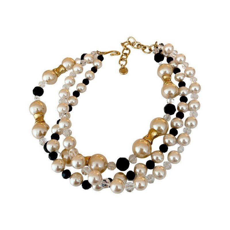 1980'S GIVENCHY PARIS RUNWAY PEARL CRYSTAL NECKLACE