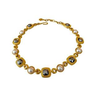 VINTAGE 80'S GIVENCHY PARIS JEWELED RUNWAY NECKLACE