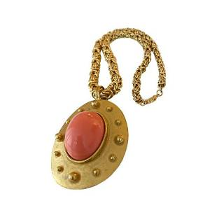 BILL SMITH RICHELIEU OVERSIZED CORAL CABOCHON NECKLACE