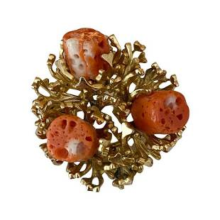 1969 GROSSE GERMANY FOR CHRISTIAN DIOR CORAL BROOCH PIN