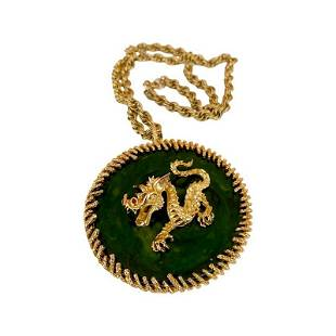 A MASSIVE SIGNED PANETTA OVERSIZED DRAGON NECKLACE