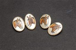 14 K. gold cufflinks with enamelled horses