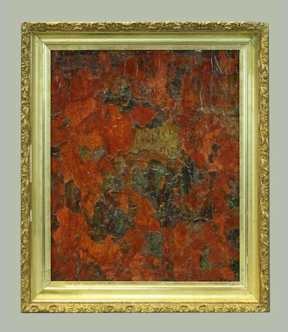 Abstract, Oil on canvas, signature covered with frame