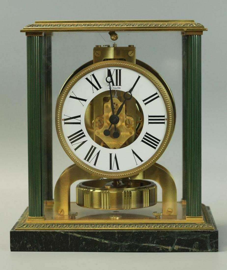 Atmosphere clock with marble base, Dore bronze, working
