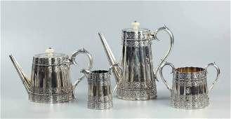 19th Century Sterling Silver English Coffee & Tea Set