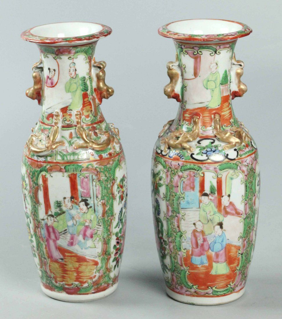 Early 19th Century Pair Chinese Rose Medallion Vases