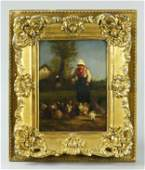 19th Century, Oil On The Board With Gilt Frame