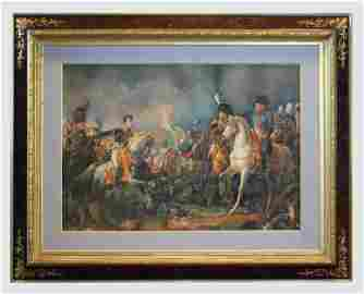 Large Victorian Watercolor, Napoleon Batley on Waterloo