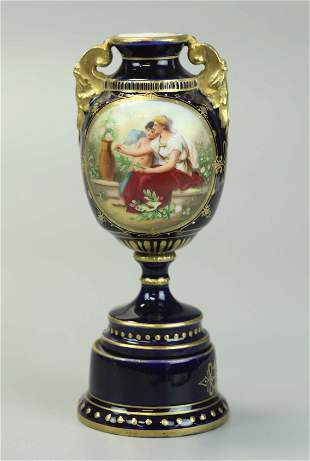 19th Century Royal Vienna Porcelain Vase, hand painted
