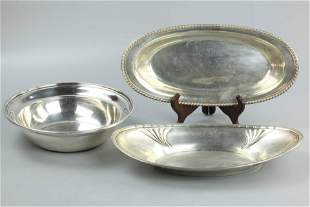 Sterling silver pieces, one bowl and two serving
