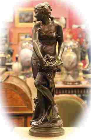 19 C bronze with brown patina sculpture