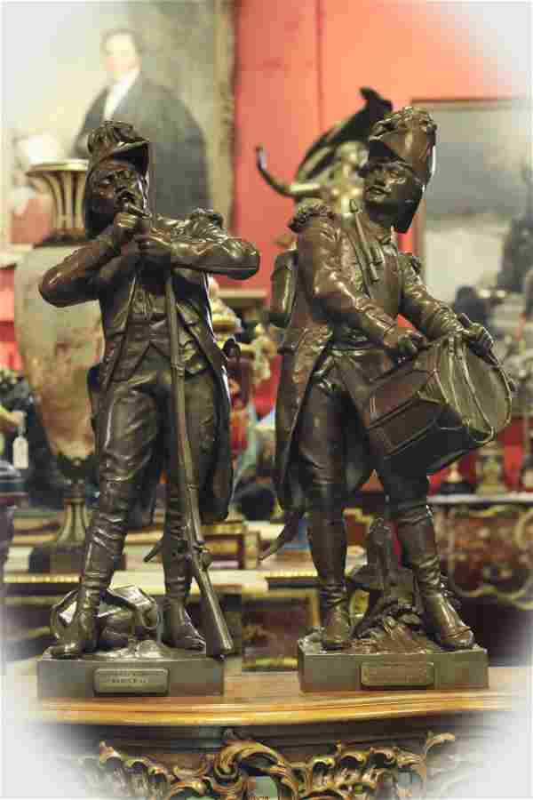 Pair 19 C French Bronze Soldiers, signed