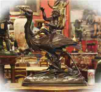 19 C Large bronze sculpture with foundry mark , signed