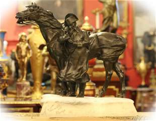 19 C bronze sculpture of Napoleon and his horse, signed