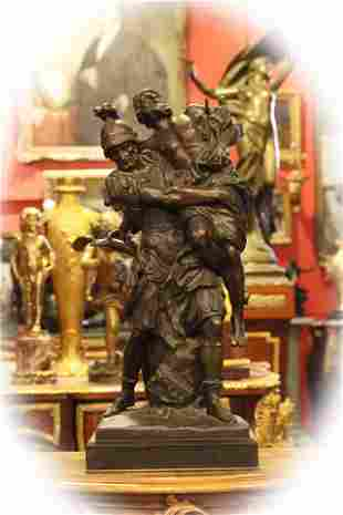 19 C bronze with brown patina figural group