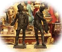 Pair 19 C bronze with brown patinafigural