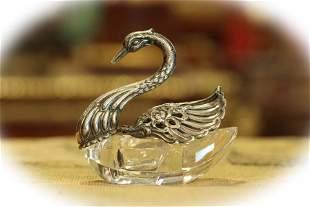 German sterling silver and crystal swan salt cellar