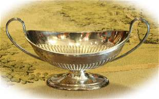Antique English sterling silver sugar bowl with mark