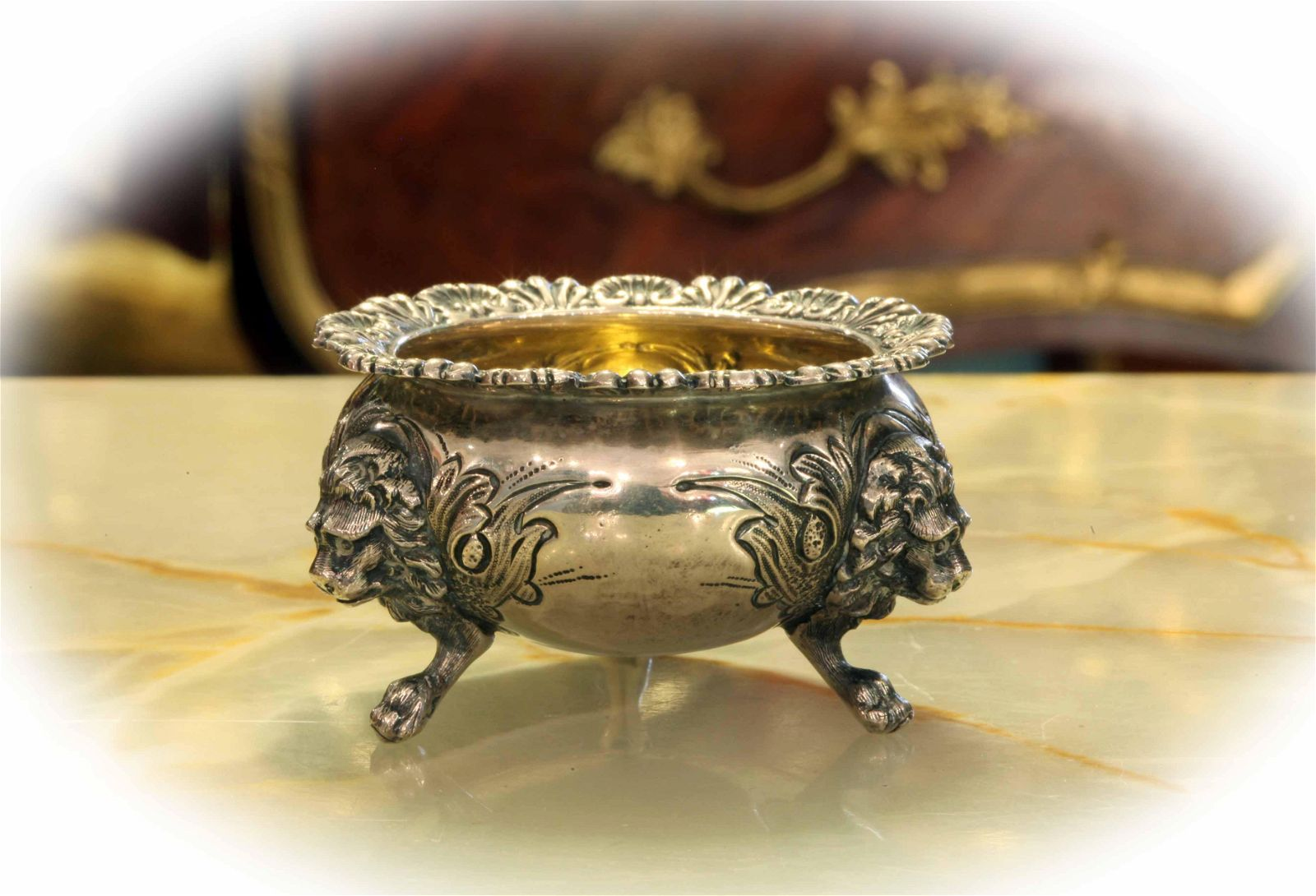 Antique sterling silver bowl with 3 legs, marked