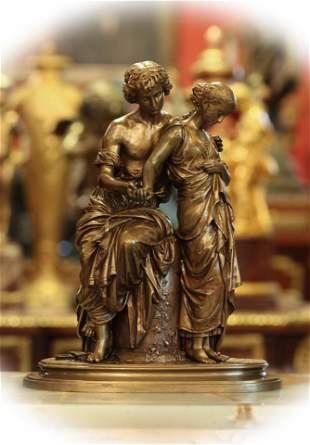 "19 C bronze sculpture of ""Daphnis Et Chloe"", signed"