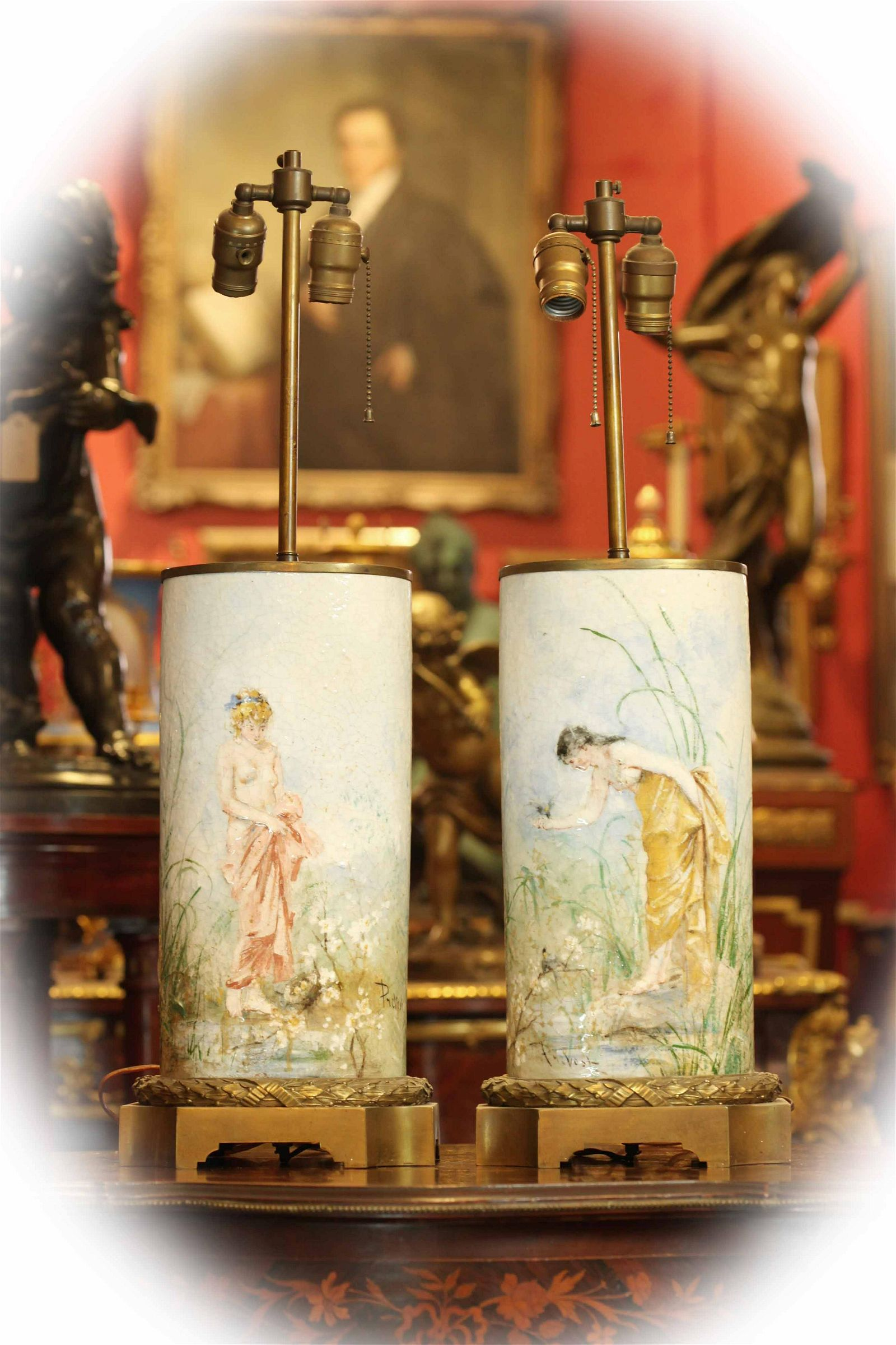 Pair of rare 19 C porcelain lamps, signed