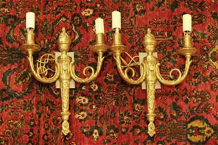 Pair of antique French Dore bronze wall sconces