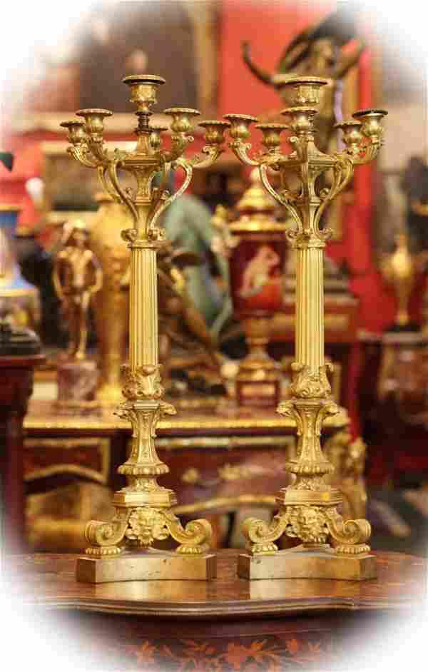 Pair Dore Bronze Candelabras,19 C French