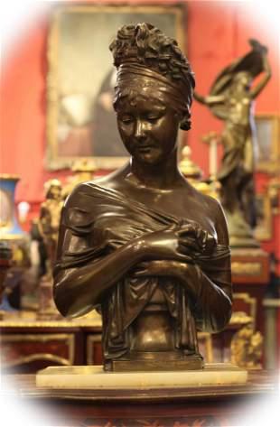 19 C bronze with brown patina bust of Madame Ré