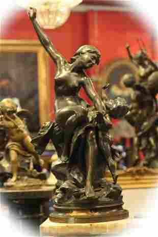 19 C bronze with brown patina sculpture group, signed