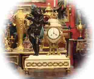 19 C Dore bronze figural statuary clock with Carrara