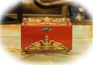 Russian red marble jewelry box mounted with gilt bronze
