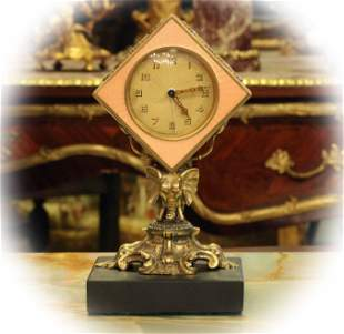 Rare French table clock with pink guilloche enamel &